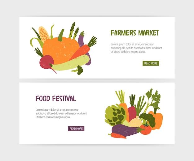 Zestaw szablonów banerów internetowych ze smacznymi ekologicznymi warzywami i miejscem na tekst