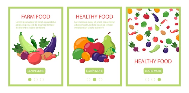 Zestaw szablonów banerów mobilnych zdrowej żywności.