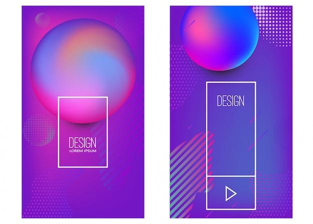 Zestaw szablonów banerów z abstrakcyjnymi dynamicznymi kształtami gradientu. element plakatu, karty, ulotki, prezentacji, broszur, okładki. wizerunek