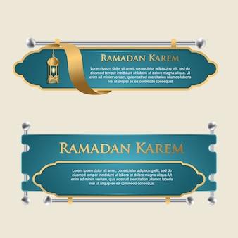 Zestaw szablonów banerów z islamskim wzornictwem