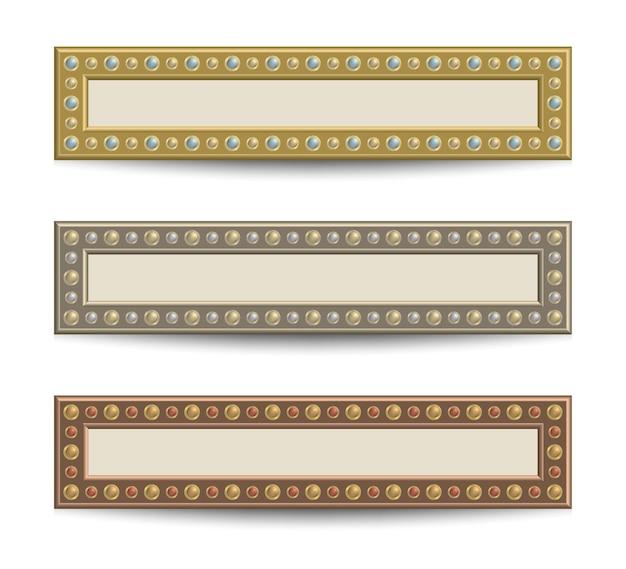 Zestaw szablonów banerów z nitami w kolorach złota, srebra i brązu.