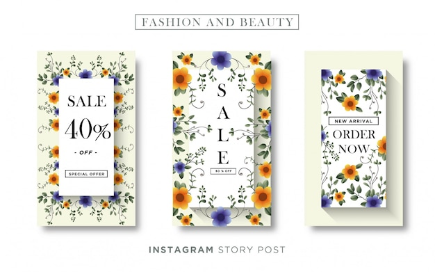 Zestaw szablonów banner historii na instagramie