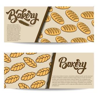 Zestaw szablonów banner piekarni na białym tle. ilustracja