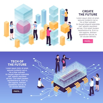 Zestaw szablonów banner przyszłych trendów technologicznych