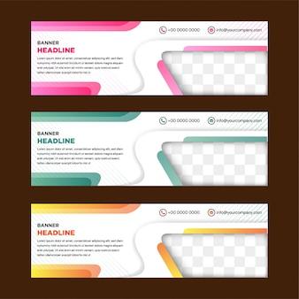 Zestaw szablonów białych banerów internetowych z ukośnymi elementami zdjęcia.
