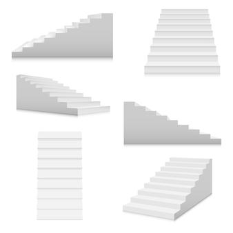 Zestaw szablonów białych schodów. klatki schodowe wewnętrzne w stylu kreskówka na białym tle. koncepcja domu nowoczesnej klatki schodowej