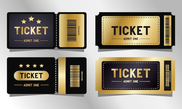 Zestaw szablonów biletów premium w kolorze czarnym i złotym