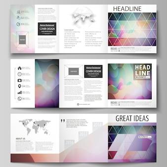 Zestaw szablonów biznesowych dla broszur składanych kwadratowych.