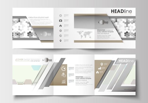 Zestaw szablonów biznesowych dla broszur tri-fold. osłona na ulotki. streszczenie szary kolor backg