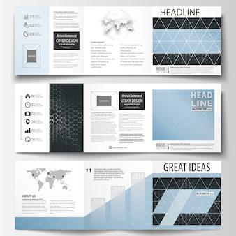 Zestaw szablonów biznesowych dla broszur tri-fold.