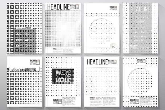 Zestaw szablonów biznesowych dla broszury, ulotki lub broszury. tło półtonów.