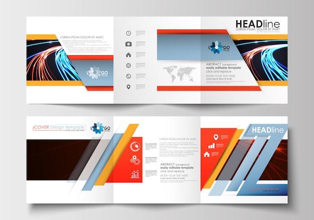 Zestaw szablonów biznesowych dla składanych broszur kwadratowych.