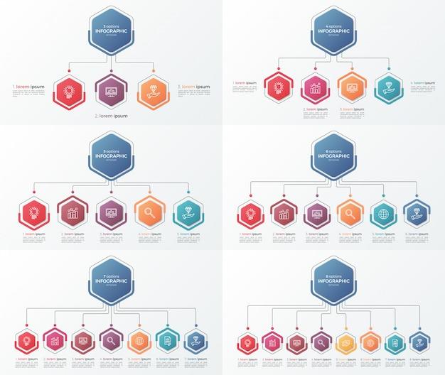 Zestaw szablonów biznesowych plansza prezentacji z 3-8 opcji