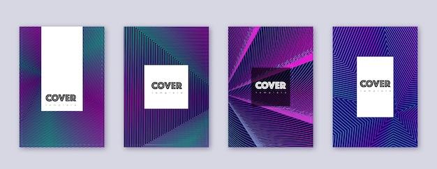 Zestaw szablonów broszur hipster. neonowe abstrakcyjne linie na ciemnym niebieskim tle. niesamowity projekt broszury. niezwykły katalog, plakat, szablon książki itp.