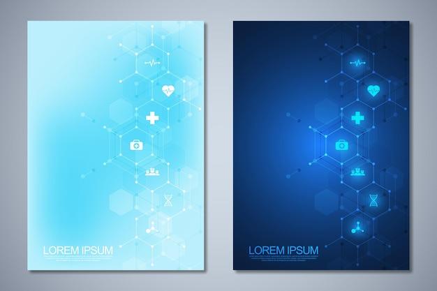 Zestaw szablonów broszur z projektem cząsteczek