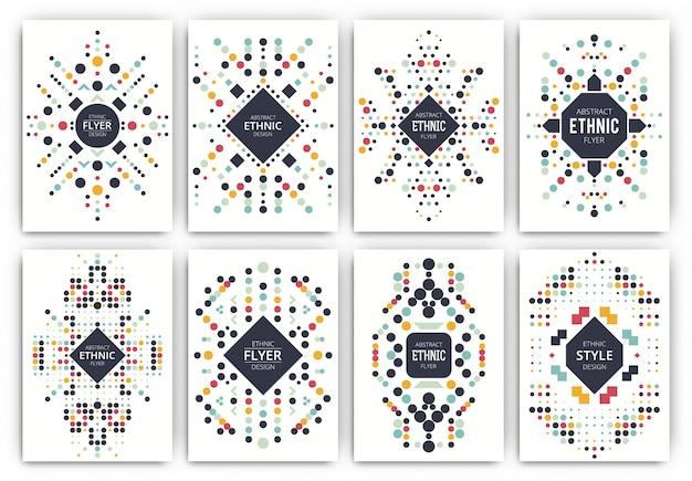 Zestaw szablonów broszura w stylu etnicznym