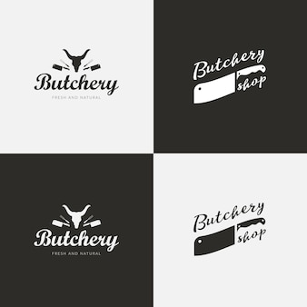 Zestaw szablonów butchery. etykiety rzeźnicze z przykładowym tekstem. elementy do projektowania rzeźnic i sylwetki zwierząt gospodarskich dla sklepów spożywczych, sklepów mięsnych, opakowań i reklamy.