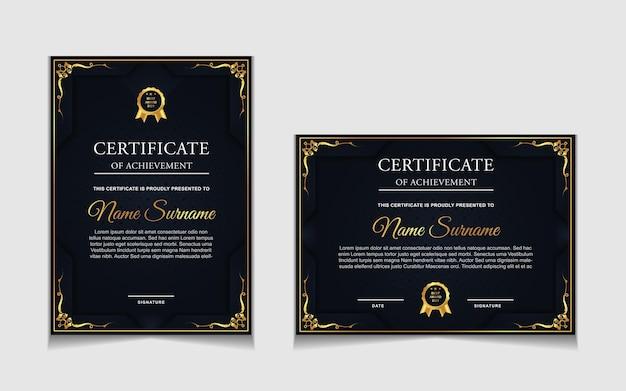 Zestaw szablonów certyfikatów ze złotymi luksusowymi nowoczesnymi kształtami