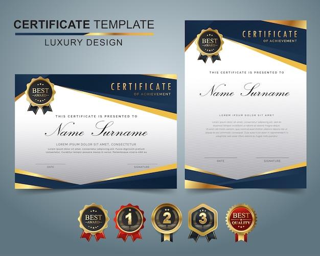 Zestaw szablonów certyfikatu ciemny niebieski i złoty kształt i odznaka.