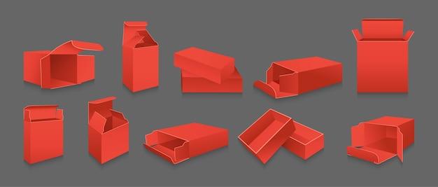 Zestaw szablonów czerwonych prezentów. kolekcja pudełek do pakowania produktów. puste realistyczne otwarte, zamknięte opakowanie papierowe. realistyczny karton z boku iz przodu.