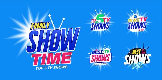 Zestaw szablonów do programów telewizyjnych, pokazuje czas