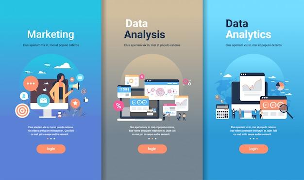Zestaw szablonów do projektowania stron internetowych do analizy danych marketingowych i koncepcji analizy danych różnych kolekcji biznesowych