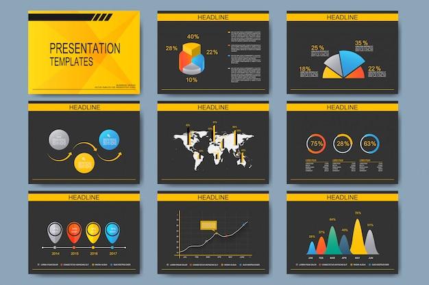 Zestaw szablonów do uniwersalnych slajdów prezentacji. nowoczesny design biznesowy z wykresem i wykresami