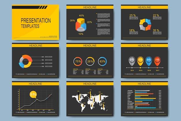 Zestaw szablonów do uniwersalnych slajdów prezentacji