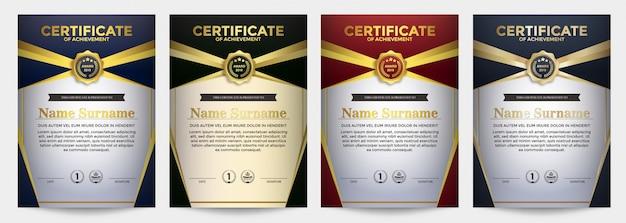 Zestaw szablonów dyplomu najlepszej nagrody świadectwa członkostwa.