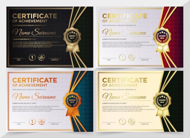Zestaw szablonów dyplomu przyznania certyfikatu najlepszej nagrody.