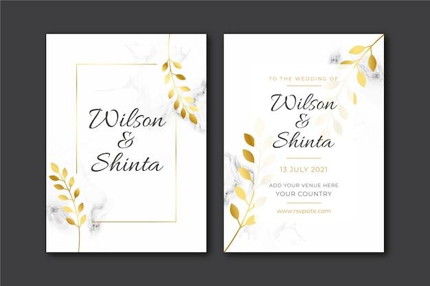 Zestaw szablonów elegancki ślub zaproszenia