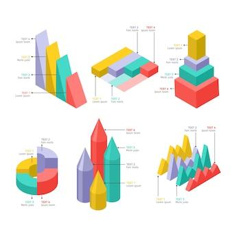 Zestaw szablonów elementów izometrycznych infographic