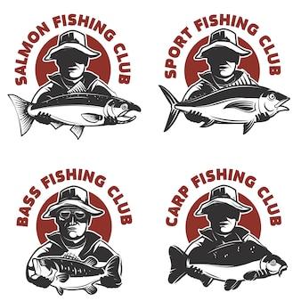 Zestaw szablonów etykiet klub wędkarski. rybak sylwetka z rybą. elementy, godło, znak, znak marki. ilustracja.