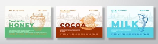 Zestaw szablonów etykiet z mielonego ziarna kakaowego i mleka