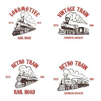 Zestaw szablonów godła z ręcznie rysowane pociągi retro.