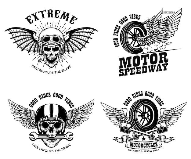 Zestaw szablonów godło racer z silnikiem motocyklowym