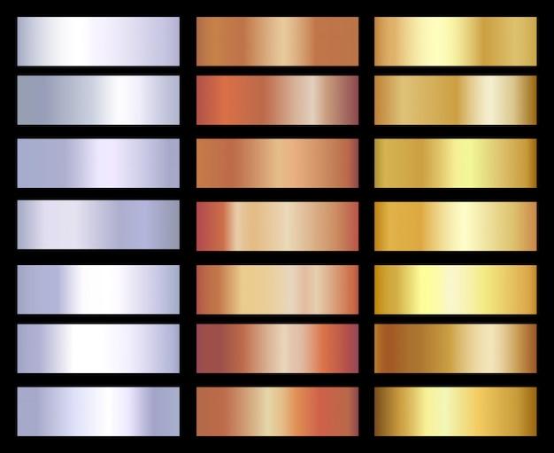 Zestaw szablonów gradientów złota, srebra i brązu