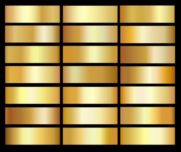 Zestaw szablonów gradienty złota