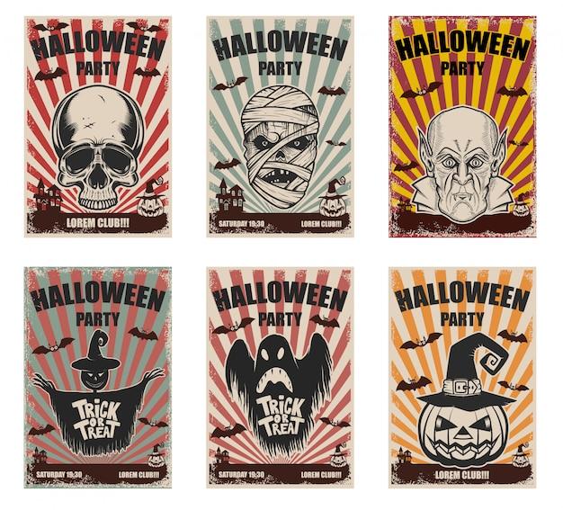 Zestaw szablonów halloween. postacie potworów. elementy plakatu, karty, baneru. ilustracja