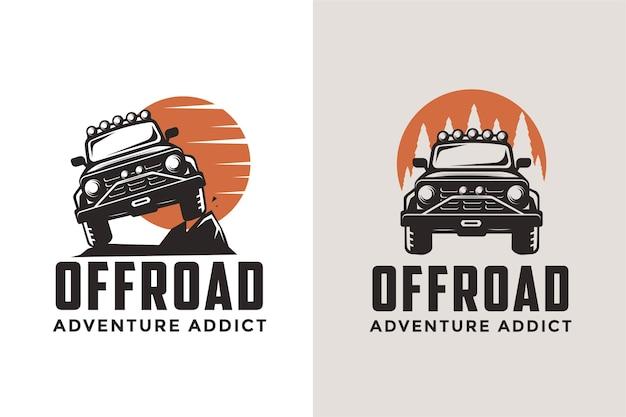 Zestaw szablonów ikon logo samochodu terenowego suv