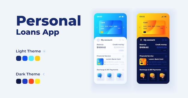 Zestaw szablonów interfejsu dla smartfonów w aplikacji pożyczek osobistych. tryby dzienne i nocne strony ekranu aplikacji mobilnej. interfejs konta bankowego online do aplikacji. wyświetlacz telefonu z ilustracjami