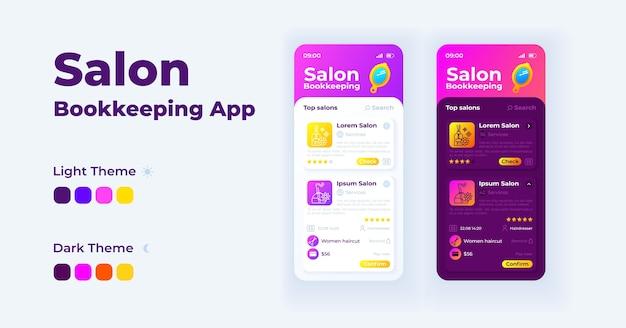 Zestaw szablonów interfejsu smartfona do prowadzenia księgowości w salonie