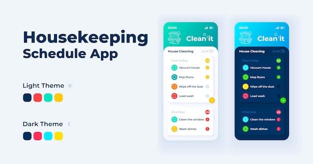 Zestaw szablonów interfejsu smartfona harmonogramu sprzątania