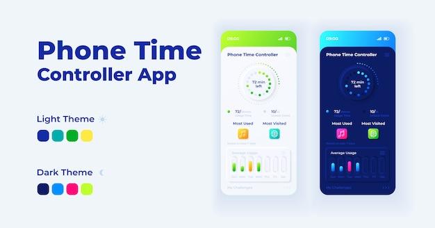 Zestaw szablonów interfejsu smartfona kreskówki kontrolera czasu telefonu. tryby dzienne i nocne strony ekranu aplikacji mobilnej. interfejs użytkownika ograniczenia czasu ekranu dla aplikacji. wyświetlacz telefonu z ilustracjami