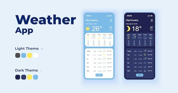 Zestaw szablonów interfejsu smartfona z codziennymi prognozami. projekt strony ekranu aplikacji mobilnej w trybie nocnym i dziennym.