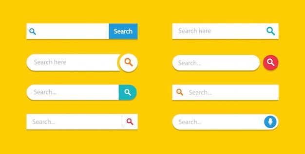 Zestaw szablonów interfejsu użytkownika pól wyszukiwania, pasek wyszukiwania.