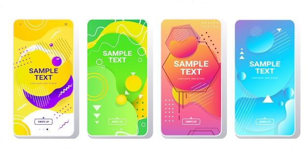 Zestaw szablonów internetowych dynamiczne kolorowe gradienty abstrakcyjne banery płynący kształt płynny kolor płyn ekrany smartfonów kolekcja online aplikacja mobilna styl memphis poziomy