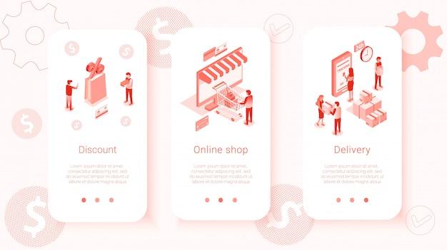 Zestaw szablonów izometrycznych interfejsu użytkownika mobilnego sklepu