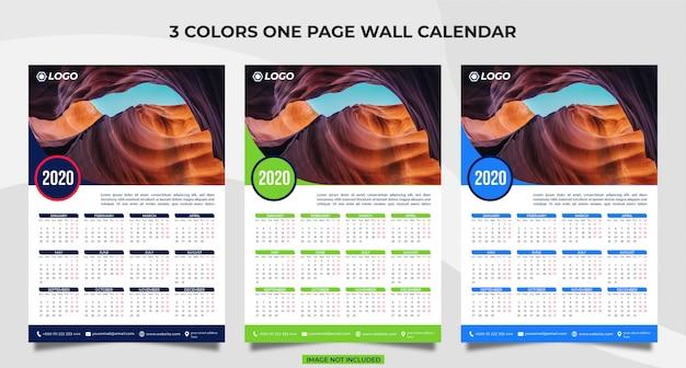 Zestaw szablonów kalendarza 2020
