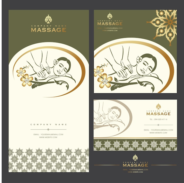 Zestaw szablonów kart masaż spa